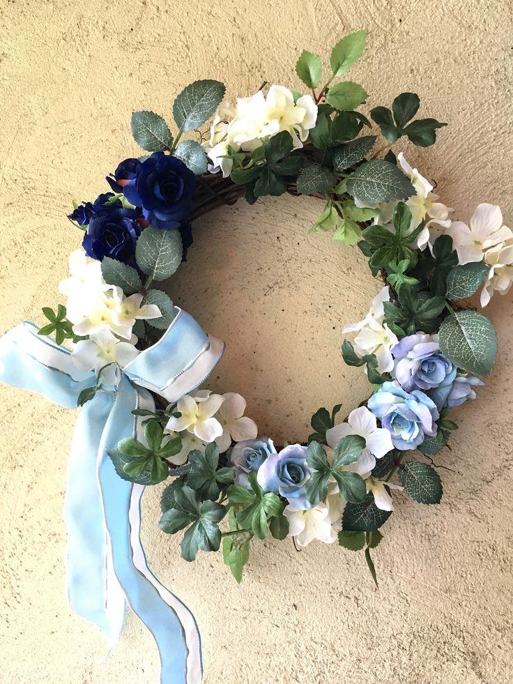 【お誕生日に「夢叶う」、青いバラのリース】