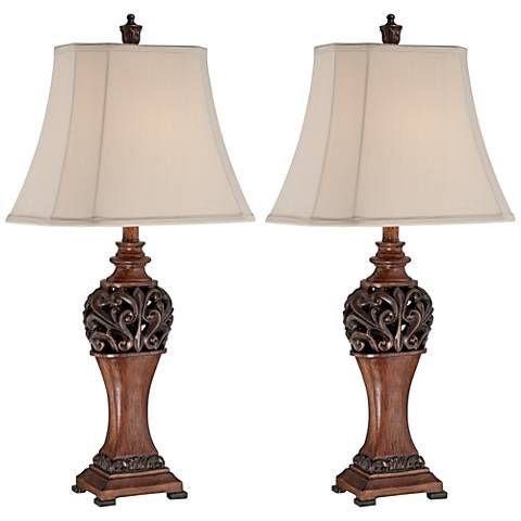 Exeter Wood Finish Table Lamp Set with Non-Dimmable LEDs - #3R187-12V37-12V37 | Lamps Plus