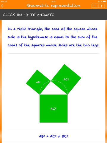Pythagorean Theorem and its Converse - The first part - I UNDERSTAND! - shows the theorem and its converse with examples and animations.  The second part - I TEST MYSELF!