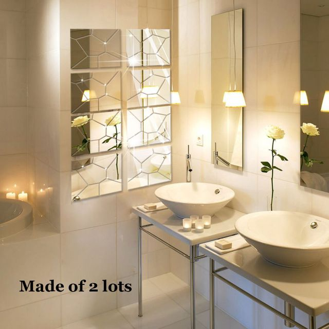 4 stuks/partij geometrie patroon 3d ps zilver goud spiegel muurstickers voor woonkamer decoratie spiegel stickers ms008 creatieve