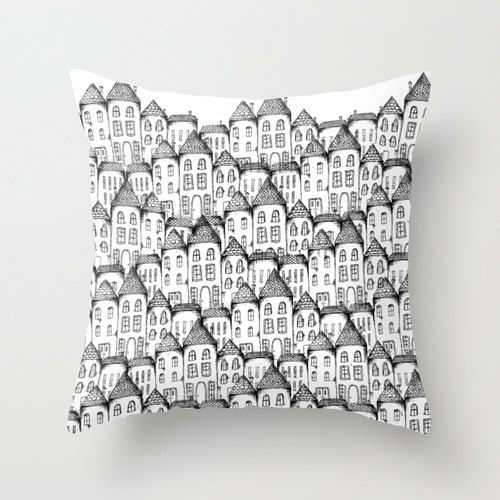 Home Decor Throw Pillow Cover, Illustrated Houses Decorative Pillow Cover, Black and White Accent Pillow on Etsy, $39.34 AUD