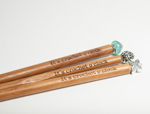 "Bamboo crochet hooks, beaded tops, crochet hooks, unique, handmade, bamboo crochet hook, ""It's crochet o'clock"" engraved crochet hooks"