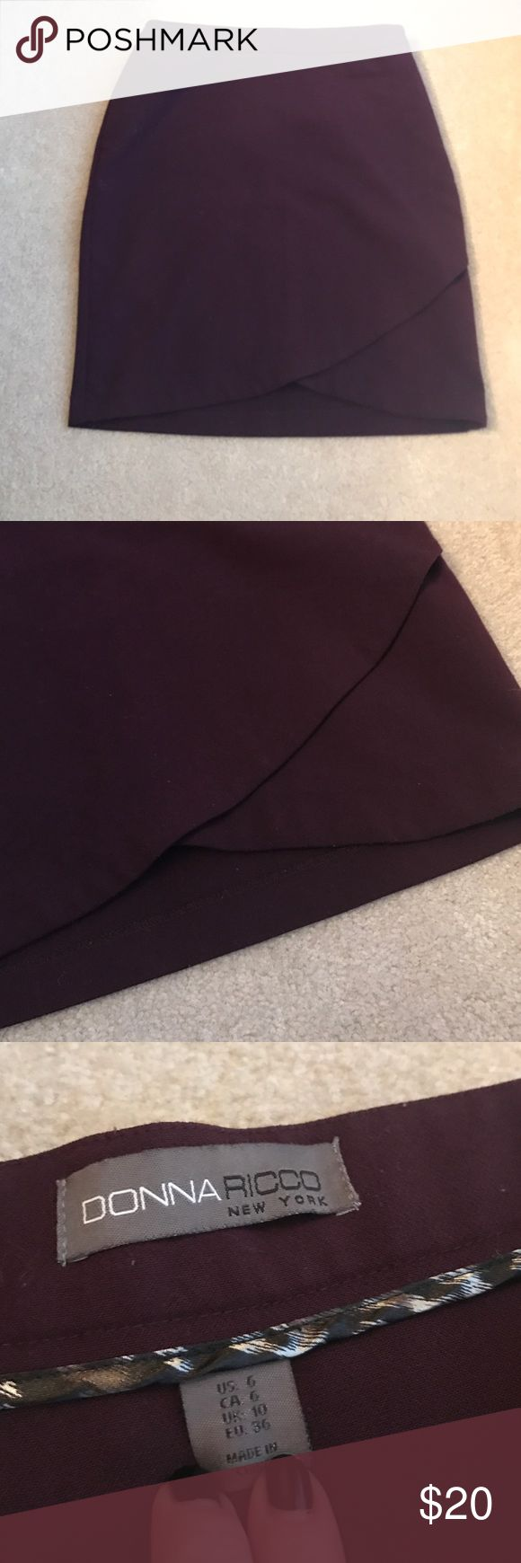 Dark purple tulip hem skirt Good condition! Perfect for all seasons! Makes a fun office look with the tulip hem. Donna Ricco Skirts