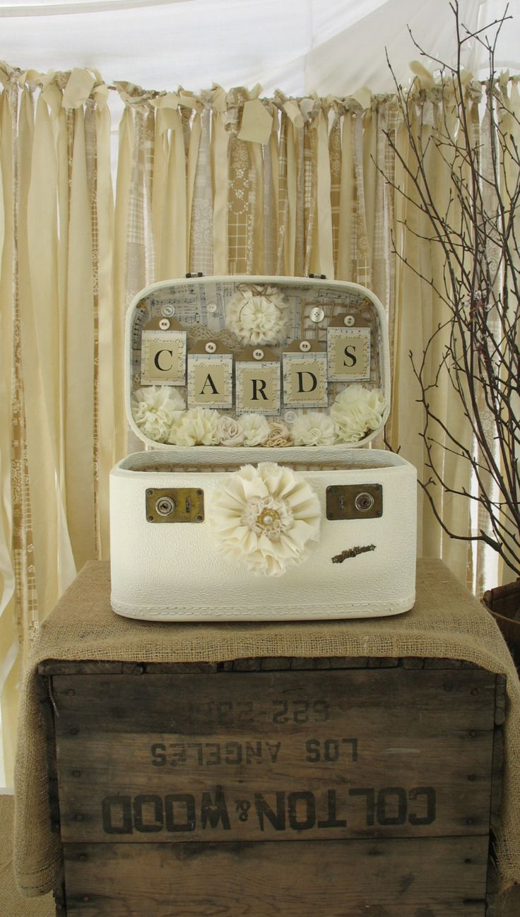 wedding gift card holders%0A Vintage Suitcase Wedding Card Box Wedding Card Holder Wedding Decoration  Ivory Off White Creme Etsy