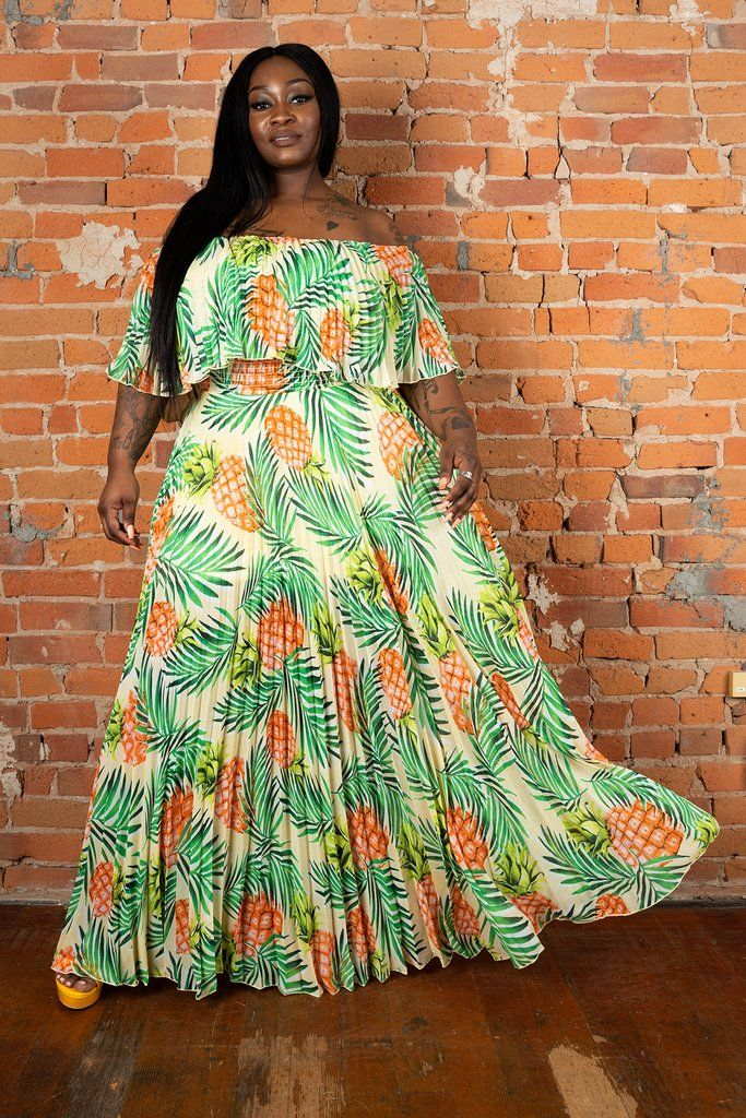 Sail away in this beautiful pineapple print maxi dress True