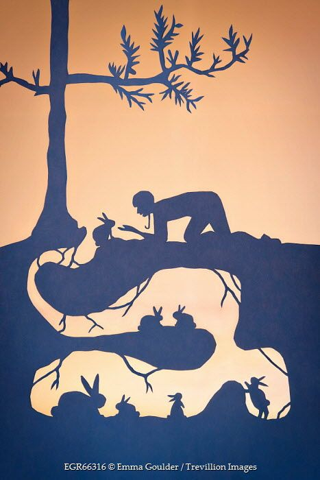 Emma Goulder PAPER CUT OUT OF BOY AND RABBITS Children