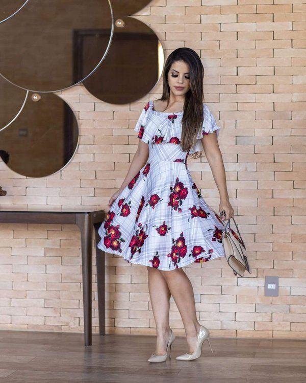 6ef1c1ea7 Vestido Midi Sueli Ciganinha Floral Moda Evangélica - Moda Evangélica -  Flor de Amêndoa Vestido Godê