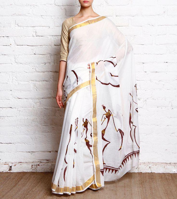 Off White Hand Painted Kerela Cotton Saree With Zari Border