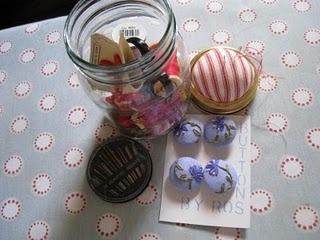 button jar with pincushion top