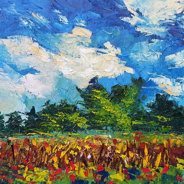 "Impressionist Oil Painting of Corn Field by Ekaterina Chernova - Size 10""x10"""