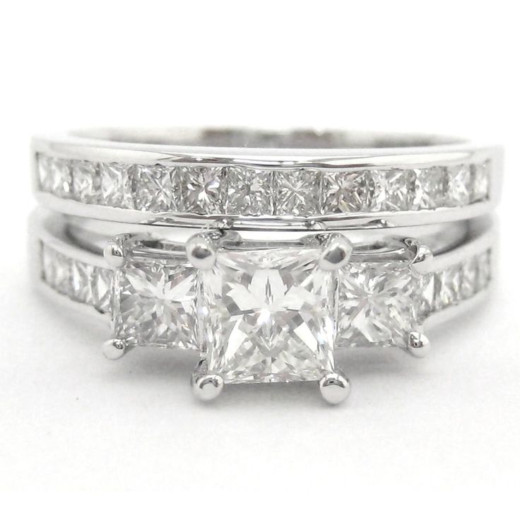 Princess Cut Three Stone Diamond Engagement Ring P6