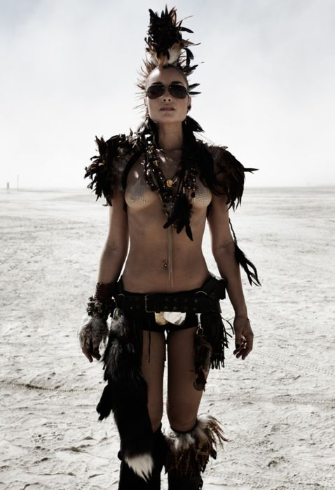 Her tribal warrior style is classic Mad Max post apocalyptic.