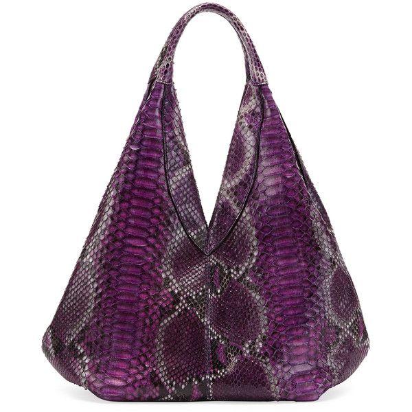 VBH Napsack Python Hobo Bag ($2,970) ❤ liked on Polyvore featuring bags, handbags, shoulder bags, purses, purse shoulder bag, hobo shoulder handbags, purple shoulder bag, hobo purses and purple handbags
