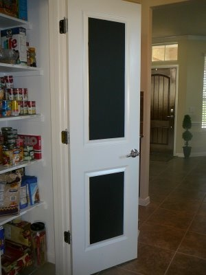 Love this idea for grocery lists!!!  paint inside of pantry door with chalkboard paint for grocery list and kids to color on while you are cooking...