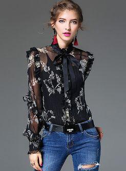 Vintage Silk Falbala Print Tied-collar Blouse