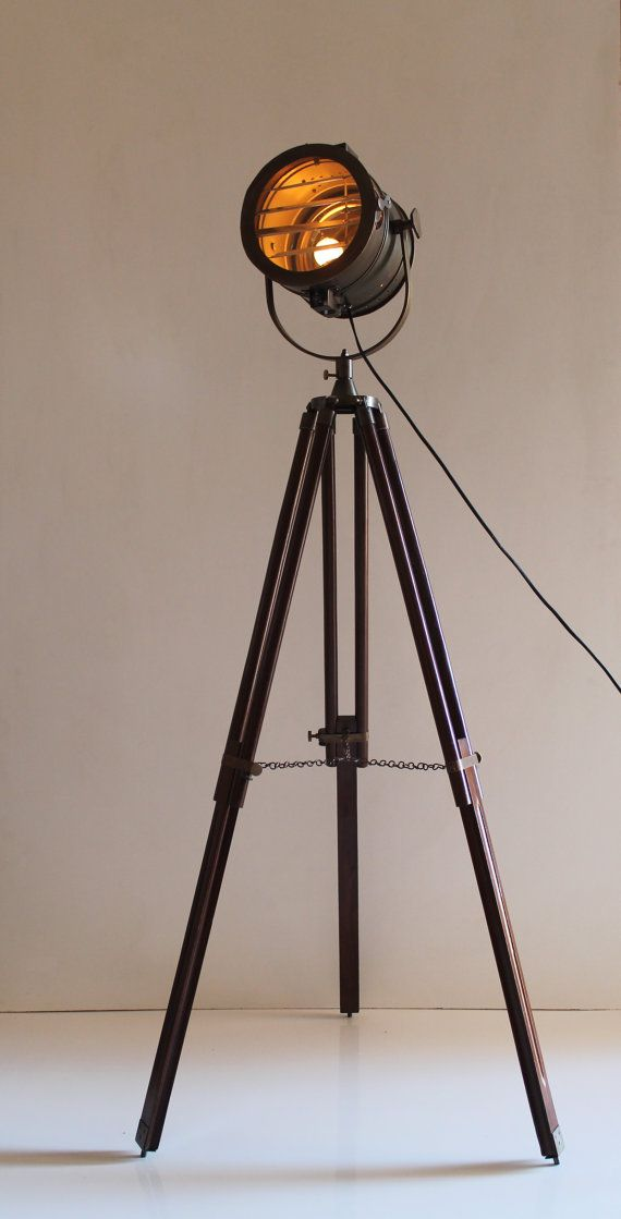 Antique Tripod Nautical Floor Lamp Industrial by TheDezinez