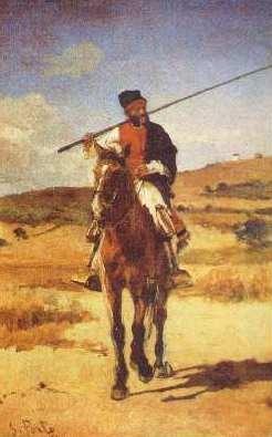 Painted by António Carvalho da Silva Porto - Bull herdsman