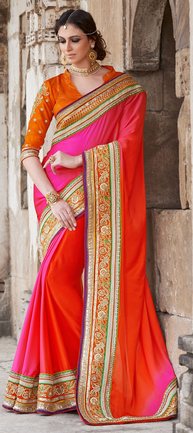 151321: REDs and ORANGEs make the new Indian bridal wear. check out this #saree collection for weddings and parties here. #IndianFashion #neon #WeddingCouture #BridalWear #Partywear #Sale #OnlineShopping #Goddess #bridetobe