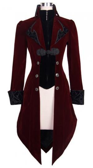 PARIS ALTERNATIF Veste longue rouge et noire aristocrate en velours avec broderies et col