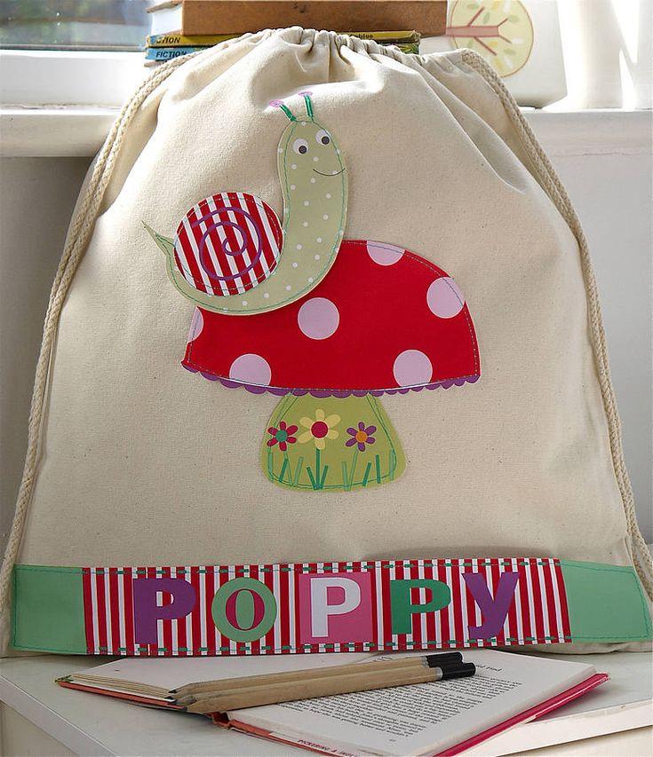 girl's personalised snail nursery bag by constantine jo | notonthehighstreet.com