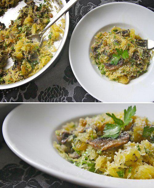 Roasted Spaghetti Squash with mushrooms, garlic, golden raisins and ...