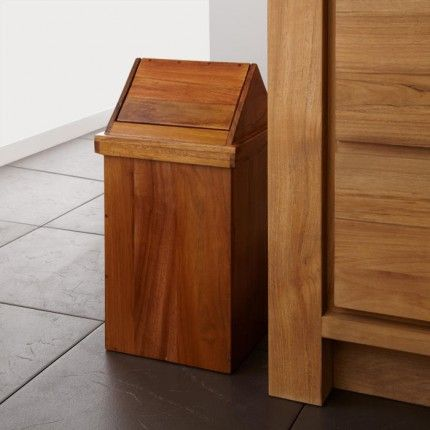 Teak Waste Basket with Swing-top Lid