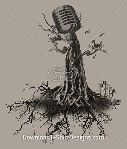 Music Roots Microphone Tree. Download this design and print on your T-Shirts or products today at: http://downloadt-shirtdesigns.com/downloadt-shirtdesigns-com-2122890.html