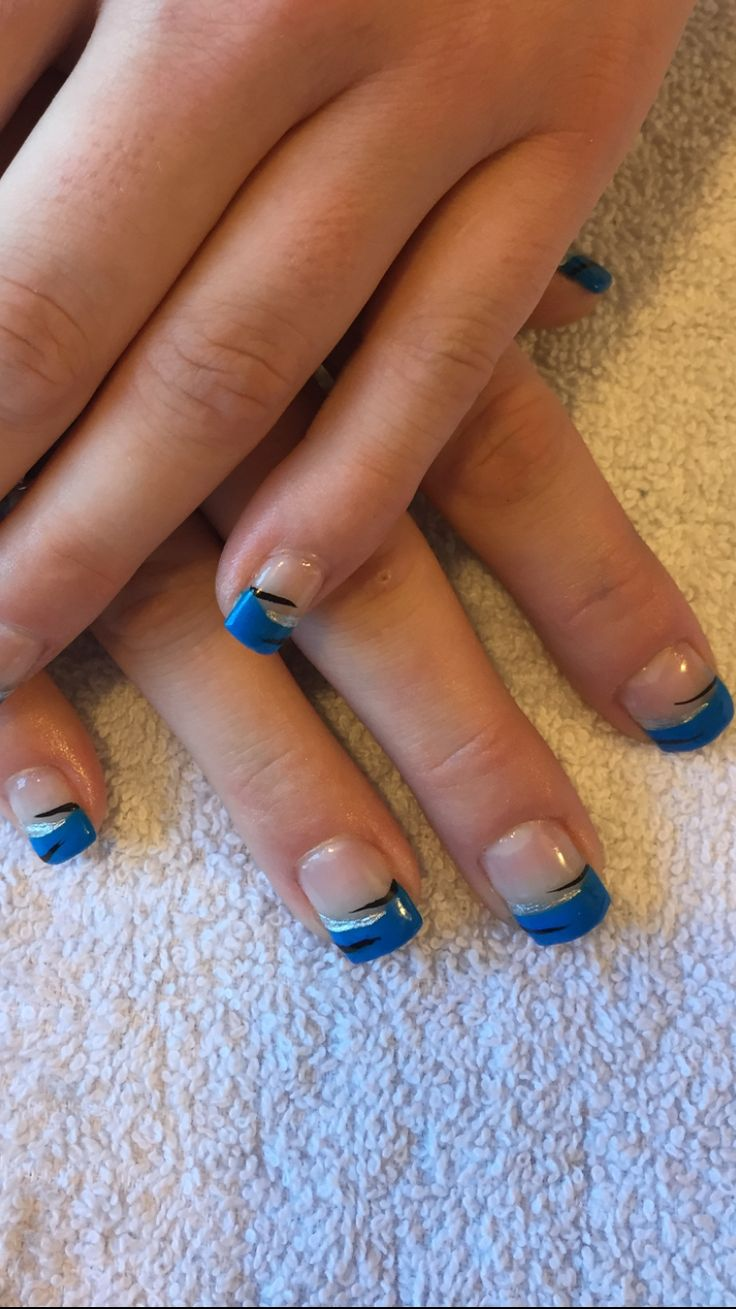 Blue French gel nails
