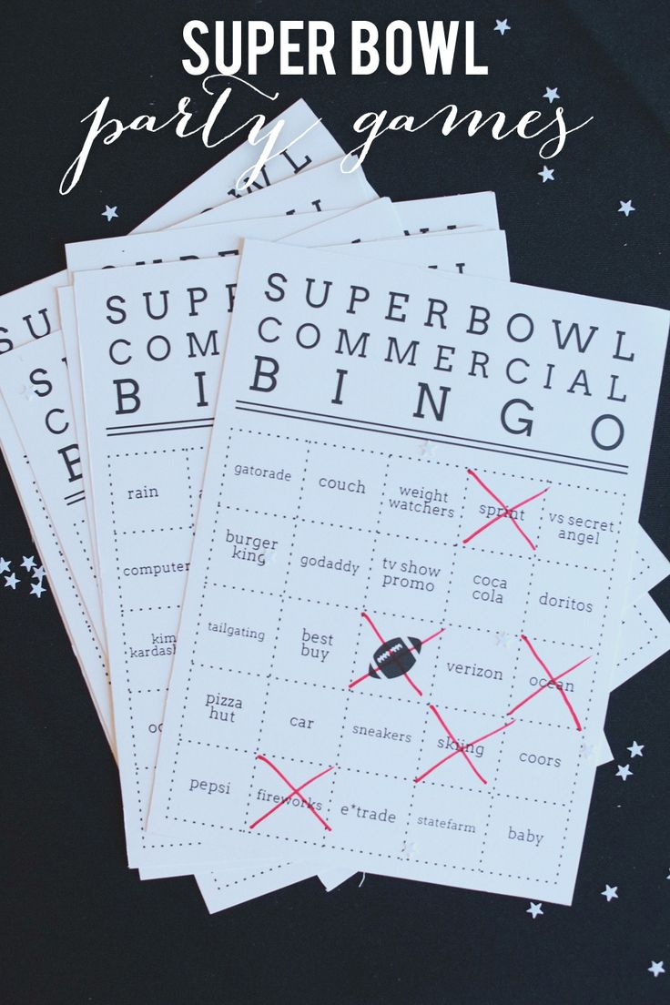 Super Bowl Bingo - whoever gets 5 in a row first wins! Free downloadable bingo cards. Fun for the kids!
