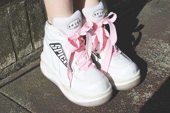 AMAZING 90s women's SPICE GIRLS platform white club kid raver sneaker shoes size 38 (7.5-8). $98.00, via Etsy.