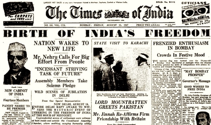 The Times of India, Bombay, Friday 15th August 1947
