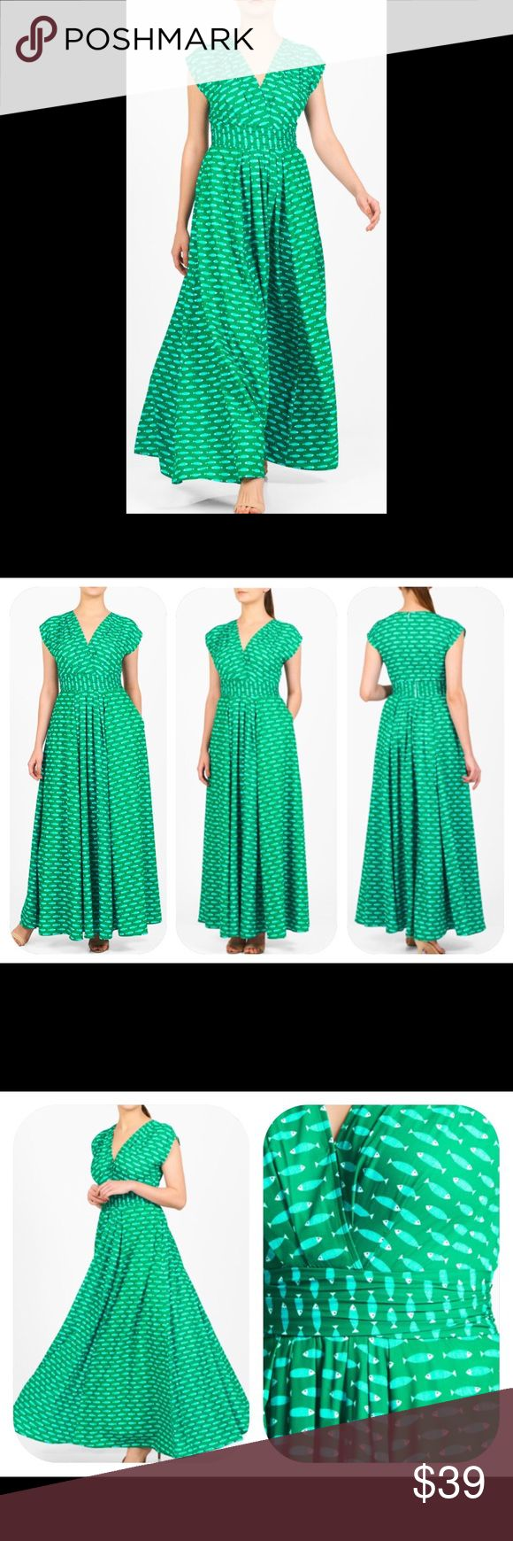 """New Eshakti Green Fish Orint Crepe Maxi Dress 22W New Eshakti green fish print crepe maxi dress Size 22W  Measured flat: underarm to underarm: 44 ½""""  Waist: 42"""" Length: 56 ½""""  Eshakti size guide for 22W bust: 49"""" Flirty surplice v-neck, pleated empire waist banding, box pleating at bodice & skirt. Dolman cap sleeves, inner shoulder bra strap keeps, back hidden zipper w/ hook & eye closure. Lined in polyester moss crepe. Polyester, woven crepe, easy drape, no stretch. Machine wash cold. New…"""