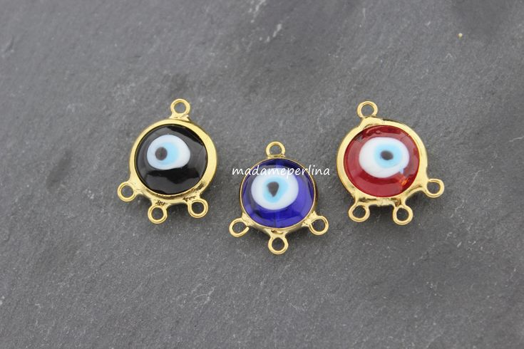 Evileye connector triple bails bezel link 22k gold plated chandelier pendant bead double sided bail evil eye turkish jewellery supplies by madameperlina on Etsy