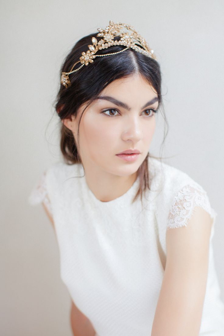Swoon over jannie baltzer s wild nature bridal headpiece collection - Oh Veronika We Adore You The Crown Is Delicately Hand Painted With Antique Gold