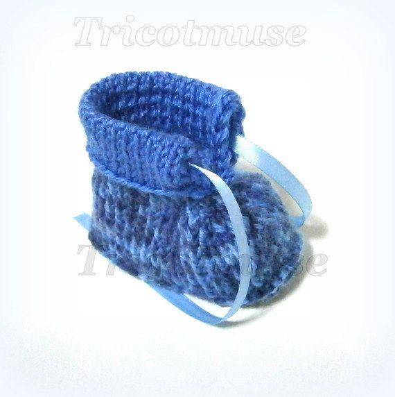 Синий ручной работы Детские пинетки 0/3 месяцев Tricotmuse по Tricotmuse