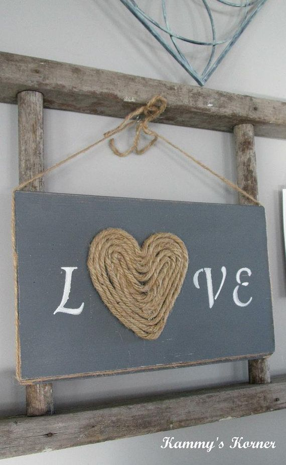 Rustic Jute Love Sign Valentine Heart By Kammyskornershop