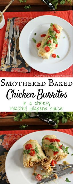 Oven Baked Burritos Smothered in a Creamy Roasted Jalapeno Sauce  - Crock Pot (slow cooker) shredded Mexican chicken wrapped in a tortilla and oven baked until crisp, then topped with a creamy and cheesy roasted jalapeno sauce.
