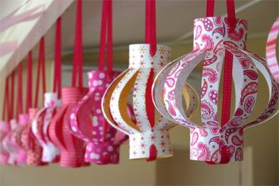 paper lanterns made from 12x12 scrapbooking paper. cute party decor!