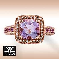 beautiful 14k strawberry gold sappire& amethyst ring by Le Vian.  i would love to have this as an engagement ring!!!