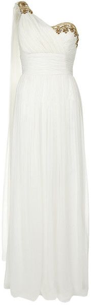 Marchesa  Embellished One Shoulder Gown - Lyst