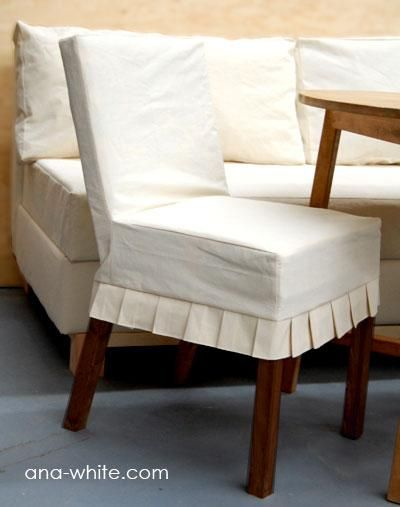 Simple, yet classy. These are the chairs & slip covers I want made to go with our farm house table hubby is building me! :) Slip covers are made from paint drop cloths!!