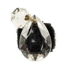 Anello in velcro nero foderato in gros grain con goccia diamante con castone riposizionabile