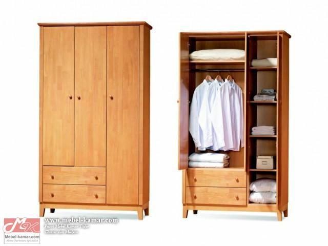 Model dan desain lemari baju minimalis 3 pintu modern dengan bahan kayu jati berkualitas. Pusat produksi mebel minimalis