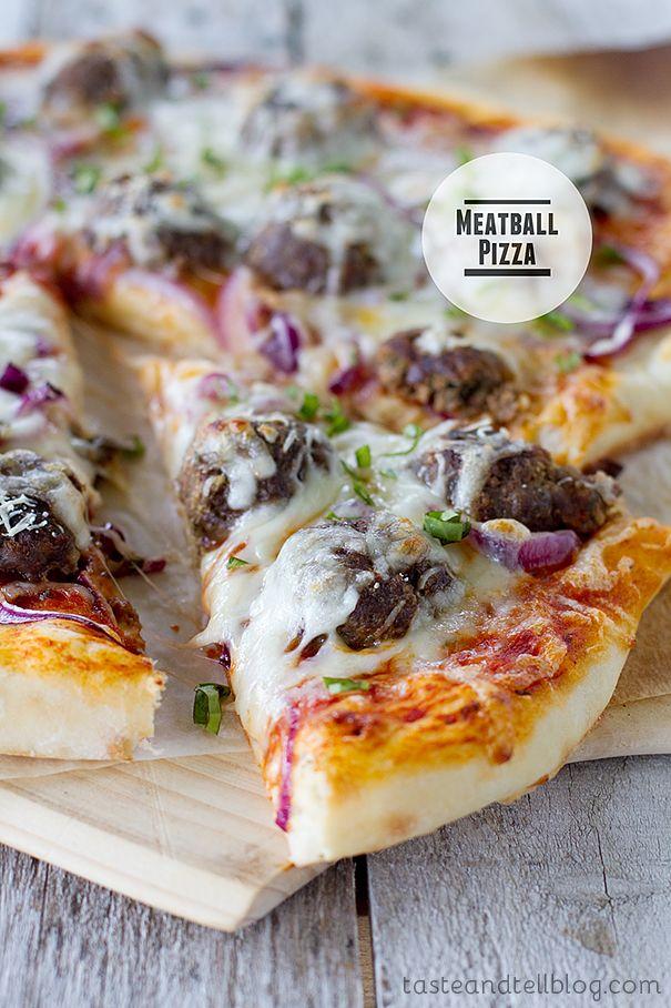 Meatball Pizza   www.tasteandtellblog.com: