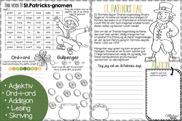Kjekke aktitivtetsark knyttet til St.Patricks dag! Lesing, skriving, matematikk og engelsk i en gratis nedlasting!