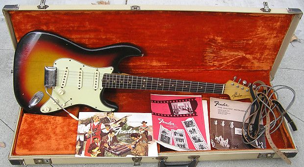 Not a reissue, replica or a clone, This is a REAL 1963 Fender Stratocaster. Vintage Guitar Magazine did an article in February 2014 issue about Korina Strats. In the early 1960's Fender was experimenting with other woods for the Stratocaster, most notably... Mahogany for the body. This 1963 Stratocaster has an African Limba wood body, it is also known as Korina, it is factory original!!! This is NOT Mahogany. This is the Same wood that Gibson used in 1958 to make the Gibson Explorers and Fly