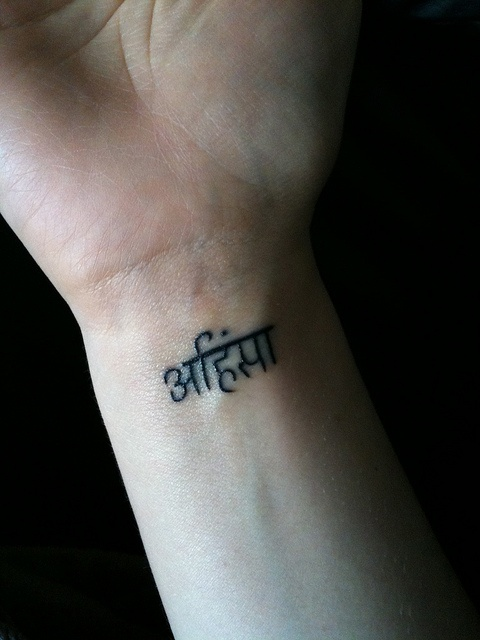 """I'm so getting this tattoo. It's Sanskrit for """"Ahimsa"""", which basically means """"compassion for all living things."""""""