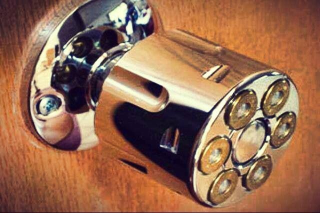 Awesome door knob for a gun room or man cave.