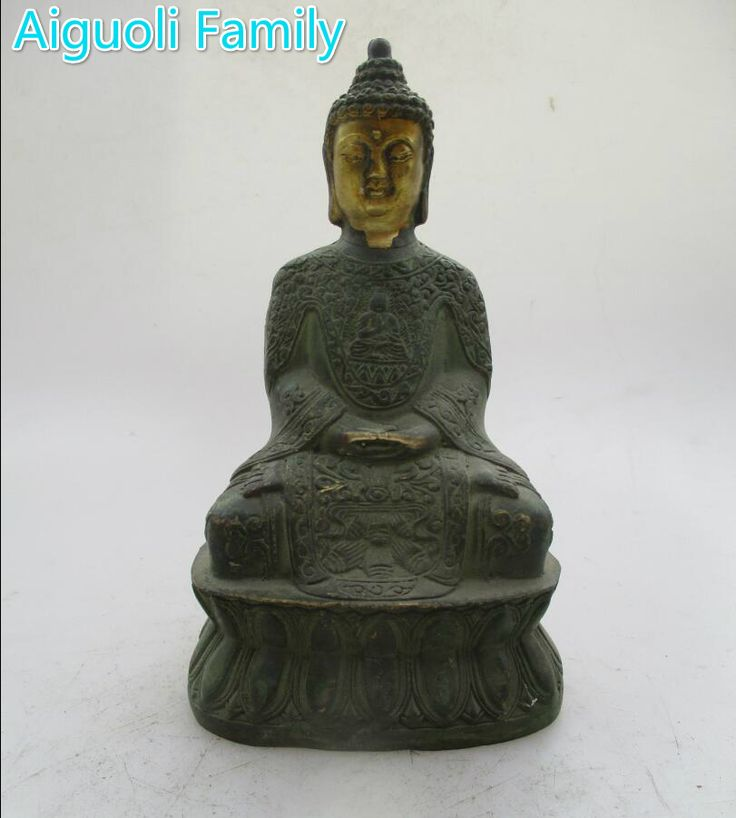 Collectible Decoration Handwork Old Bronze Carved Buddha Statue/Antique antiques Chinese Buddha Sculpture #Affiliate
