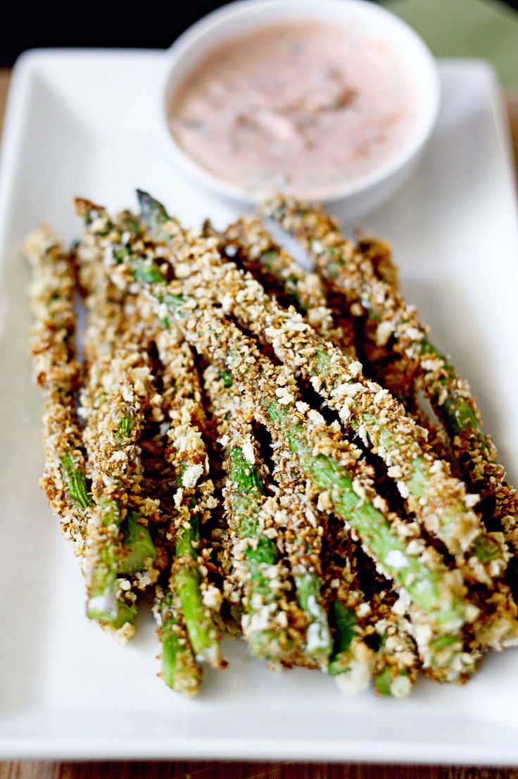 Crunchy Asparagus Fries with Lemon-Herb Dip